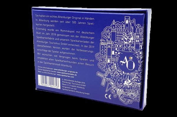 """Deutsches Rommé der Produktlinie """"Altenburger Originale"""" mit roter und blauer Kornblume als Rückseite"""