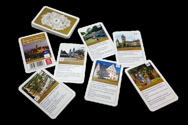 einzelne Karten der Sonderedition Quartett Mitteldeutsche Burgen, Schlösser und Herrenhäuser mit Quiz